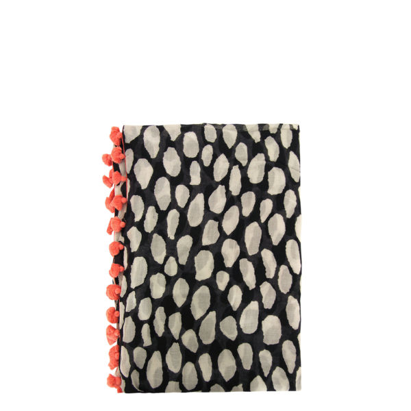 Diane von Furstenberg Black and White Animal Dots Circle Scarf - Animal Dots Black