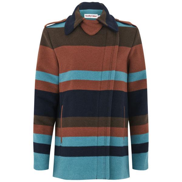 See by Chloe Women's Block Stripe Wool Coat - Brown/Blue