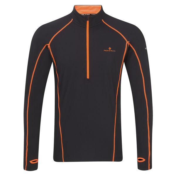 Ronhill men 39 s base thermal 300 1 2 zip t shirt black for Mens black thermal t shirts