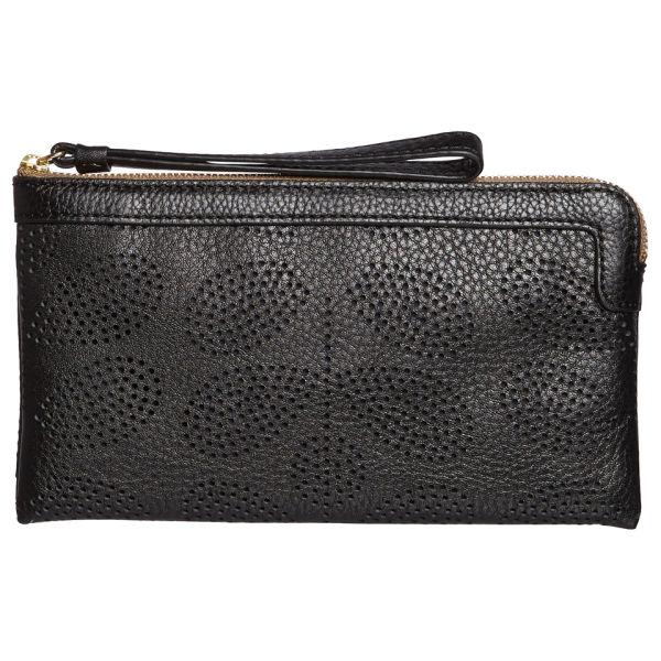 Orla Kiely Women's Sixties Stem Punched Leather Flat Zip Purse - Black