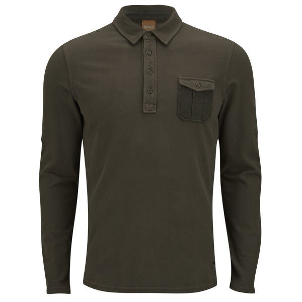 Boss orange men 39 s pellu roll up long sleeved chest pocket for Men s polo shirts with chest pocket