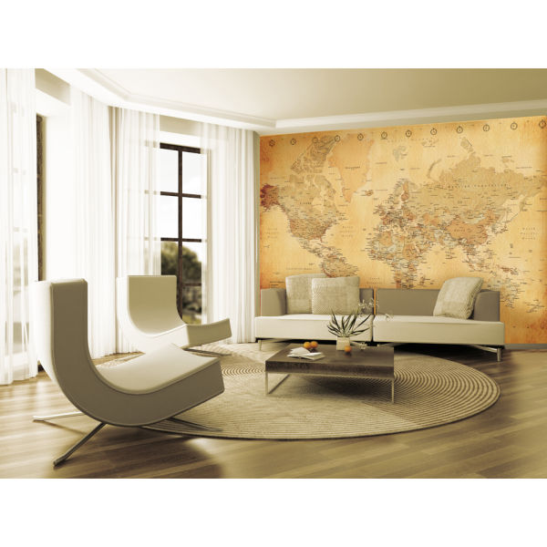 1 wall old style world map wall mural sowia for Classic mural wallpaper