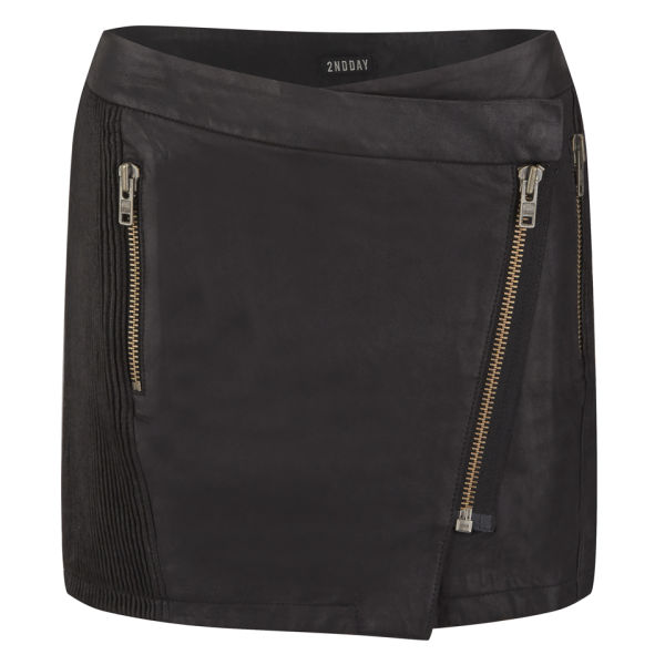 2NDDAY Women's Zip Leather Skirt - Black