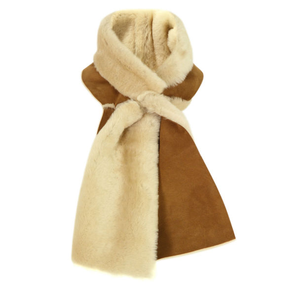 ugg s classic shearling panel scarf chestnut