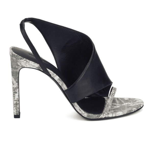 Alexander Wang Women's Benoit Sling Back Heeled Leather Sandals - Black and White Lizard