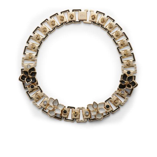 Maria Francesca Pepe Studs, Swarovski, Enamel and Flowers Necklace - Gold/Black/Crystal/White