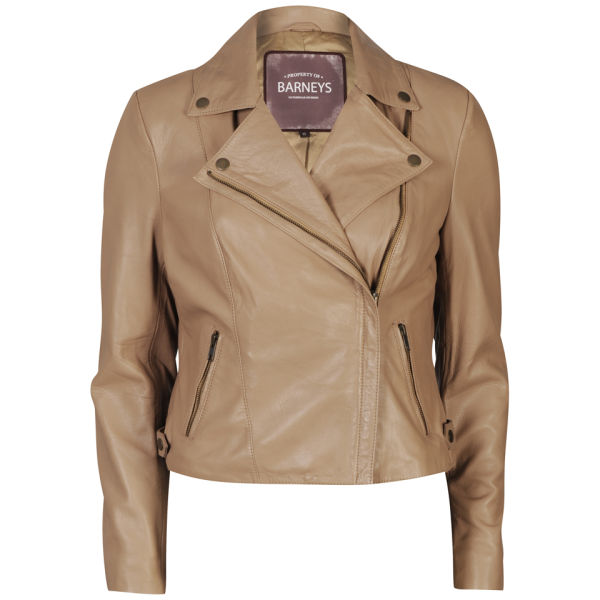 Barneys Women s Real Leather Biker Jacket - Tan Womens Clothing