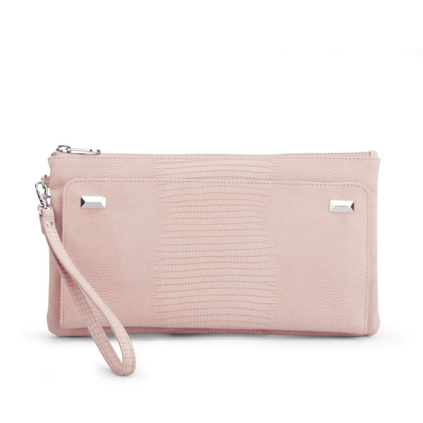 French Connection Women's Tibby Croc Stud Zip Top Clutch - Dusty Melon Croc