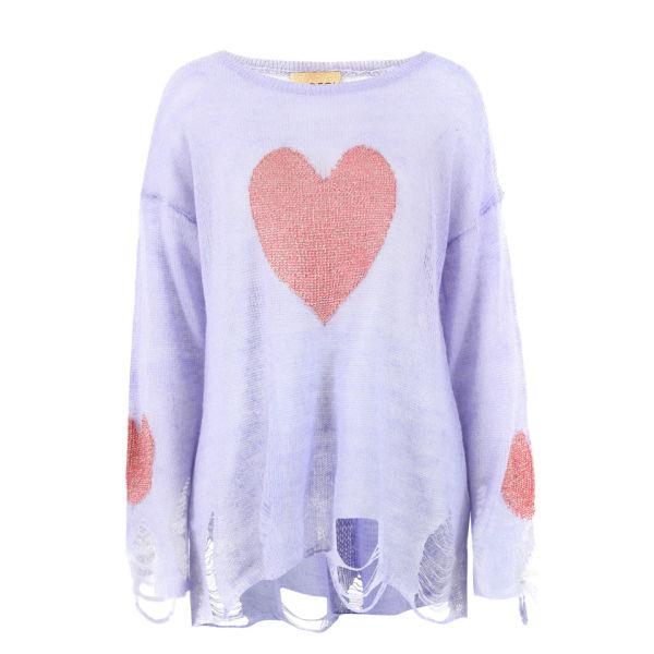Wildfox Women's Lennon Happy Heart Knit - Jacaranda