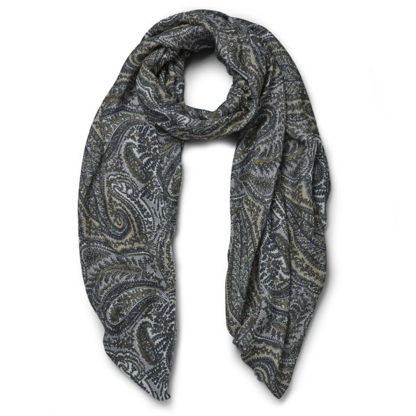 Knutsford Paisley Printed Cashmere Blend Scarf - Blue/Green