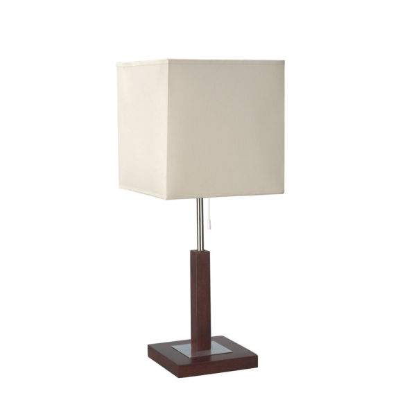 philips eseo violla single light table lamp with dark wood base white iwoot. Black Bedroom Furniture Sets. Home Design Ideas
