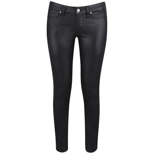 Paige Women's Verdugo Mid Rise Ultra Skinny Ankle Silk Coating Jeans - Black