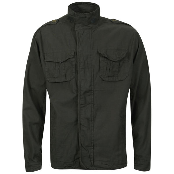 3da6f1fbdef8 Brave Soul Mens Strong Zip Thru Cotton Twill Jacket Charcoal Clothing
