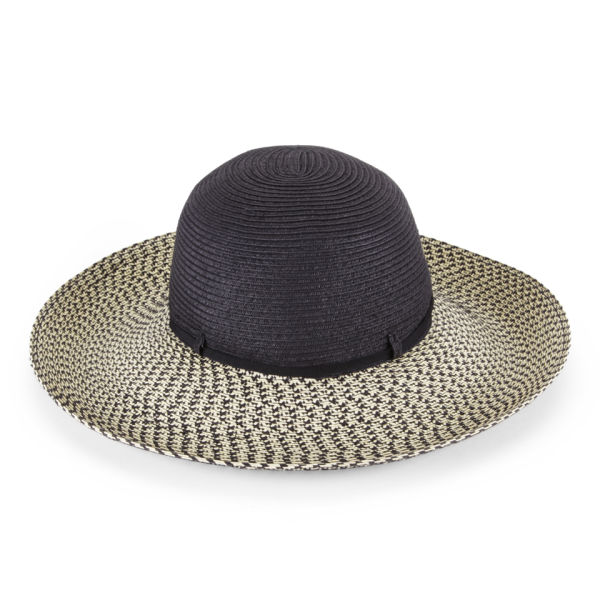 French Connection Selma Printed Brim Straw Hat - Natural/Black