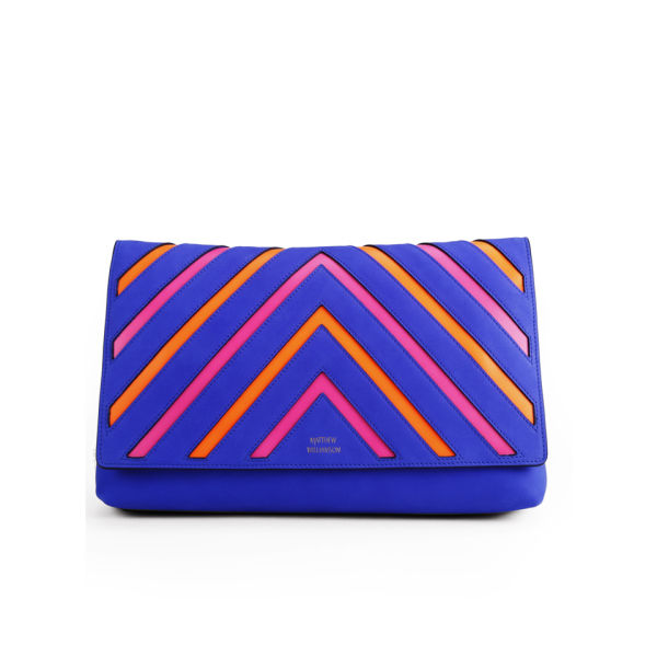 Matthew Williamson Women's Nomad Neon Stripe Leather Clutch Bag - Persian Blue