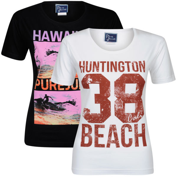 Pure juice women 39 s 2 pack hawaiian huntingdon beach for Hawaiian graphic t shirts