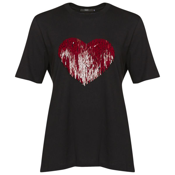 Markus Lupfer Women's Sequin Heart Embroidered T-Shirt - Black