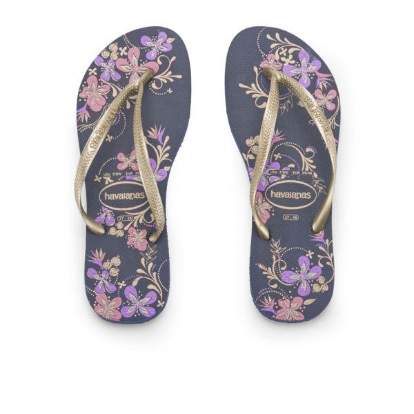 Havaianas Women's Slim Season Flip Flops - Navy/Gold