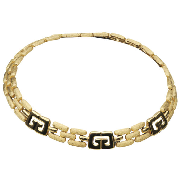 Susan Caplan Vintage Givenchy Brushed and Shiny Gold Plated Necklace