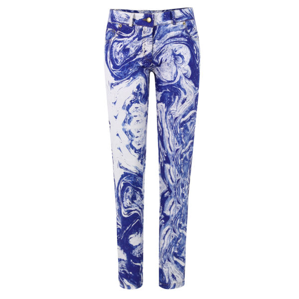 Charlotte Taylor Women's Blue Marble Jeans - Blue/White