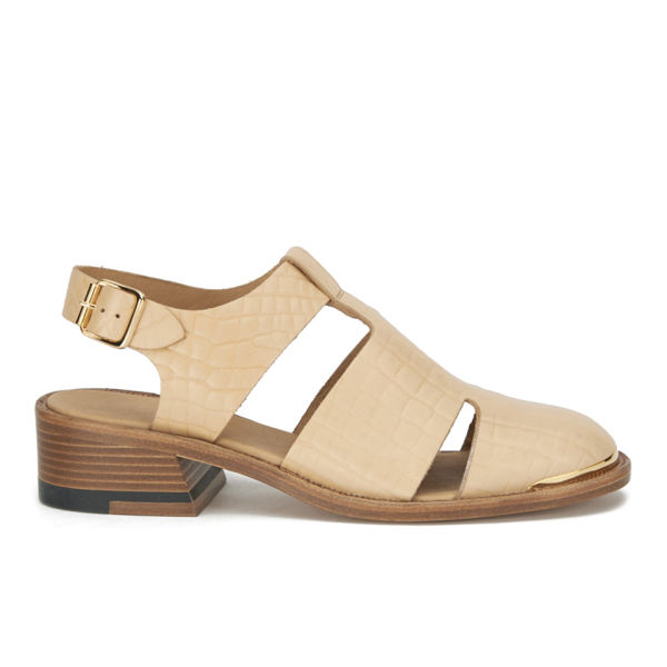 Purified Purified Women's Patti 7 Leather Cut Out Sandals - Natural Croc - 6