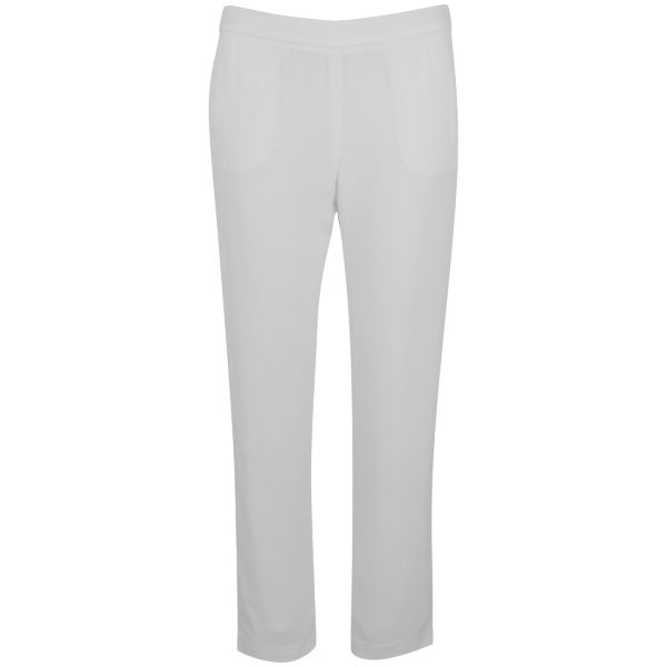 T by Alexander Wang Women's Viscose Crepe Cropped Slight Flare Pants - White