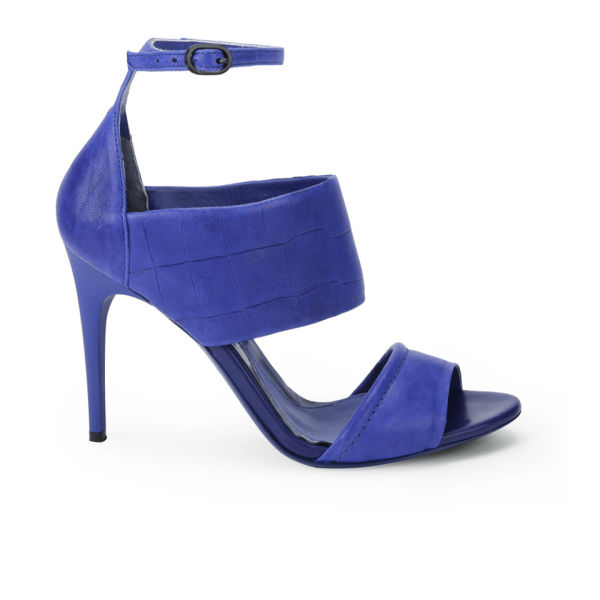 McQ Alexander McQueen Women's Croc Leather Heeled Sandals - Cobalt