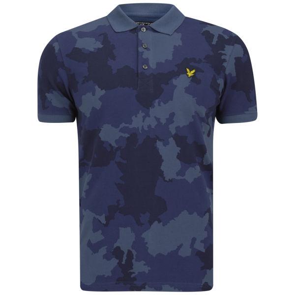 Lyle scott men 39 s camo polo shirt true blue free uk for Camo polo shirts for men