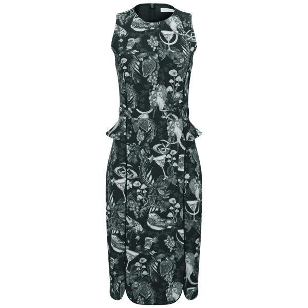 Matthew Williamson Women's Morris Print Fitted Neoprene Midi Peplum Dress - Black