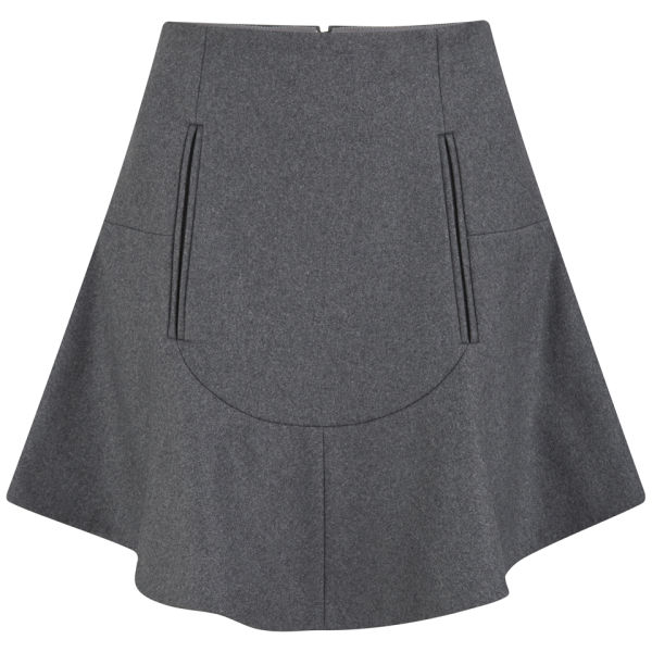 Carven Women's Wool Skater Skirt -  Grey