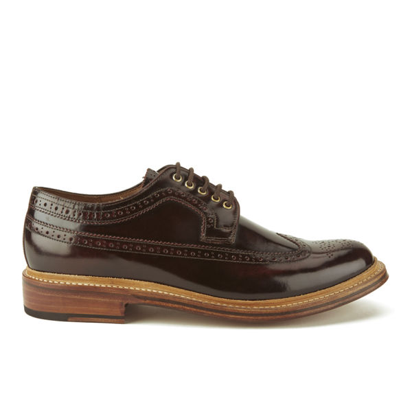 Grenson Men's Sid Hi Shine Leather Brogues - Burgundy