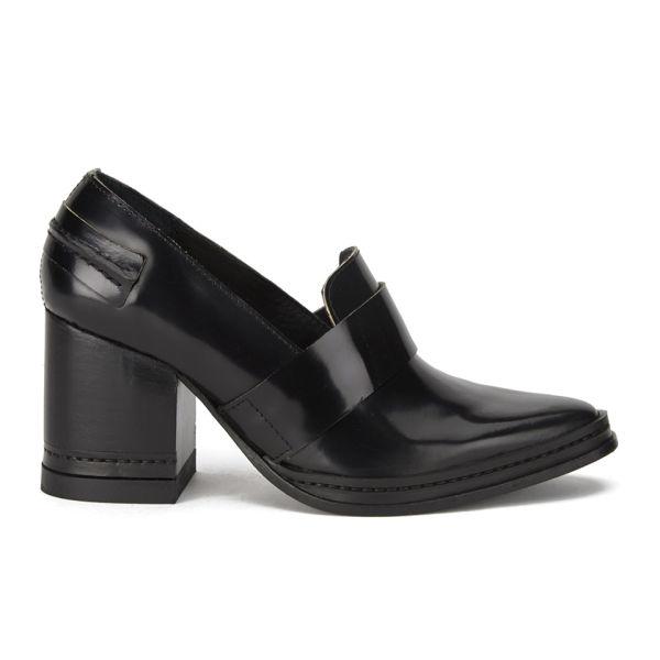Purified Women's Fey Block Heeled Leather Shoes - Black Highshine