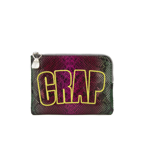 House of Holland Crap Pouch Leather Clutch Bag - Multi Snake