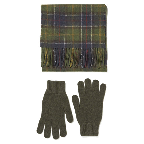 barbour s scarf and glove gift box classic olive