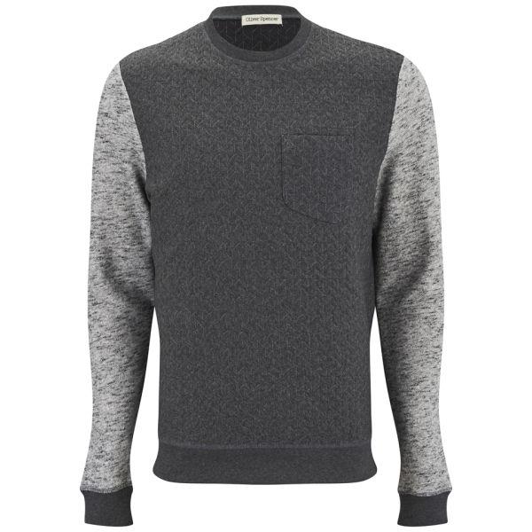 oliver spencer men 39 s embroidered pocket sweatshirt charcoal free uk delivery over 50. Black Bedroom Furniture Sets. Home Design Ideas