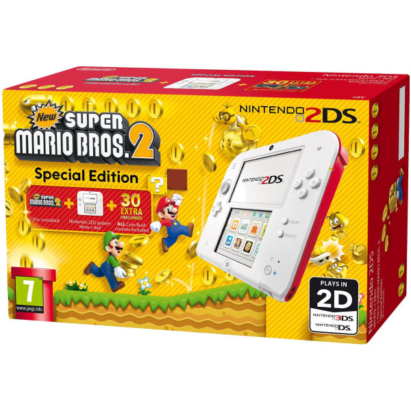 nintendo 2ds white and red console   includes new super