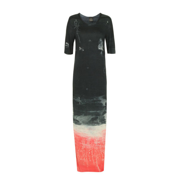 Draw In Light Women's 10 T Maxi Dress - Red & Navy Garden
