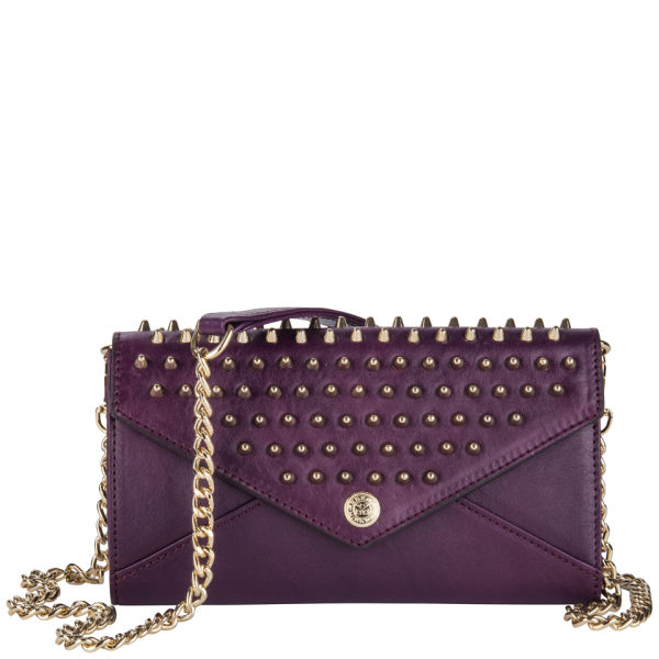 Rebecca Minkoff Leather Wallet on a Chain with Studs - Plum