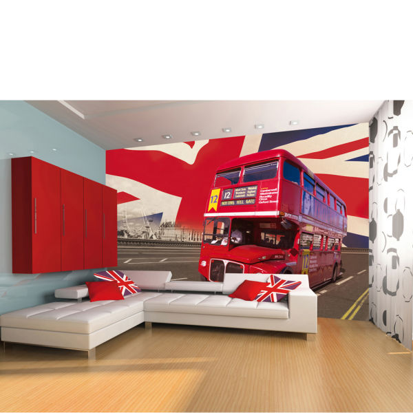 Black and red bedroom set - London Double Decker Bus Wall Mural Iwoot