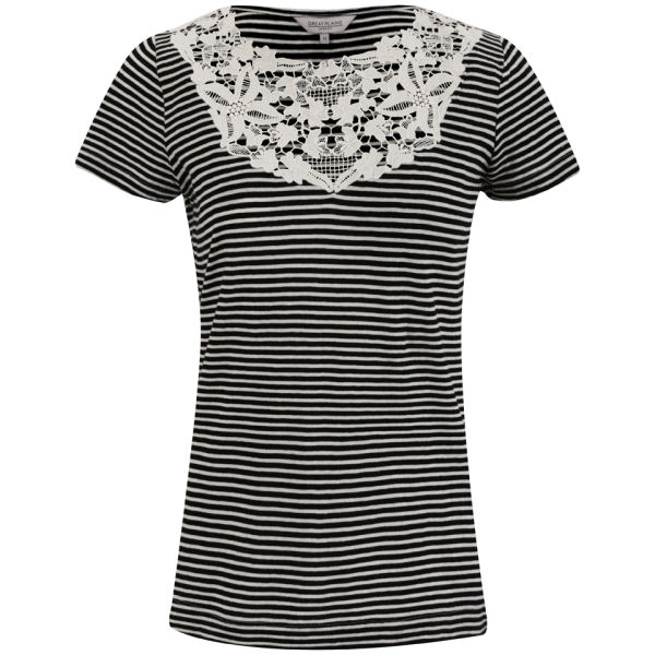 Great Plains Women's Sofia Stripe Lace T-Shirt - Black/Double Cream
