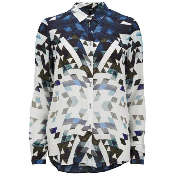 2NDDAY Women's Geometric Printed Shirt - Blue Print