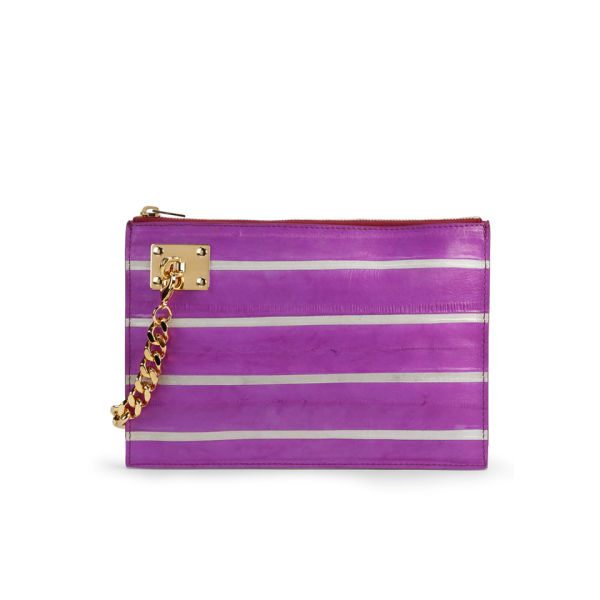 Sophie Hulme Large Zip Leather Pouch with Chain - Pink/White