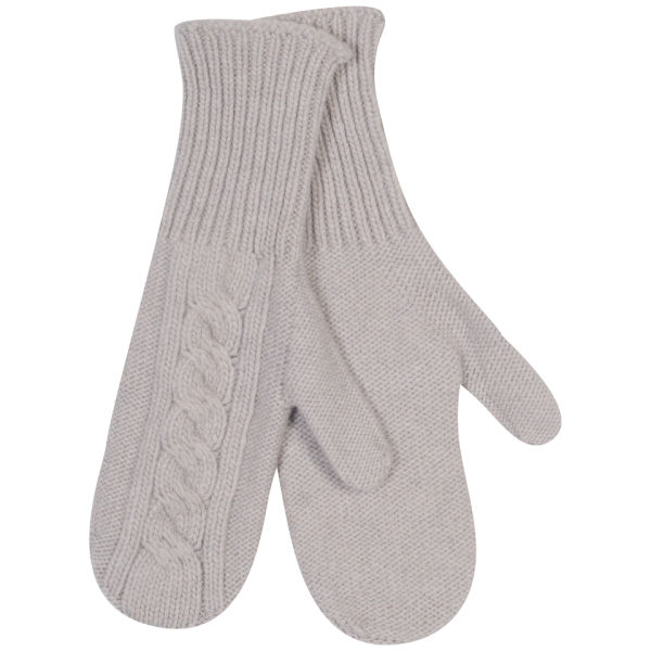 Johnstons of Elgin Cable Knit Cashmere Mittens - Agate
