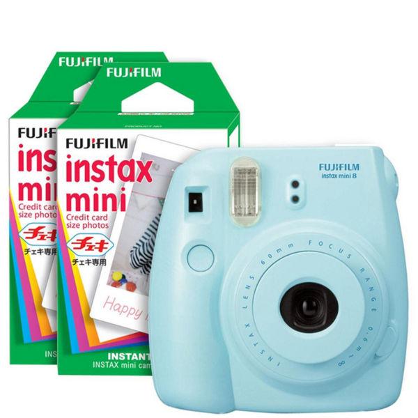 fujifilm instax mini 8 instant photo camera bundle with 40 photo film pack blue electronics. Black Bedroom Furniture Sets. Home Design Ideas