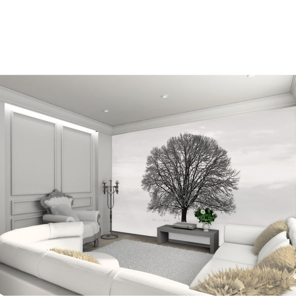 Silhouette black and grey tree wall mural iwoot for Black tree mural