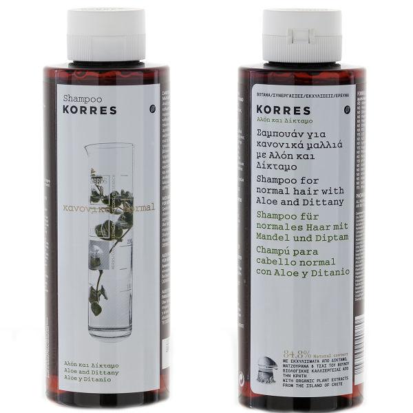 Champú aloe vera Korres Aloe and Dittany - cabello normal (250ml)