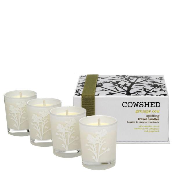Cowshed Grumpy Cow Uplifting Travel Candles (Belebende Kerzen in Reisegröße)