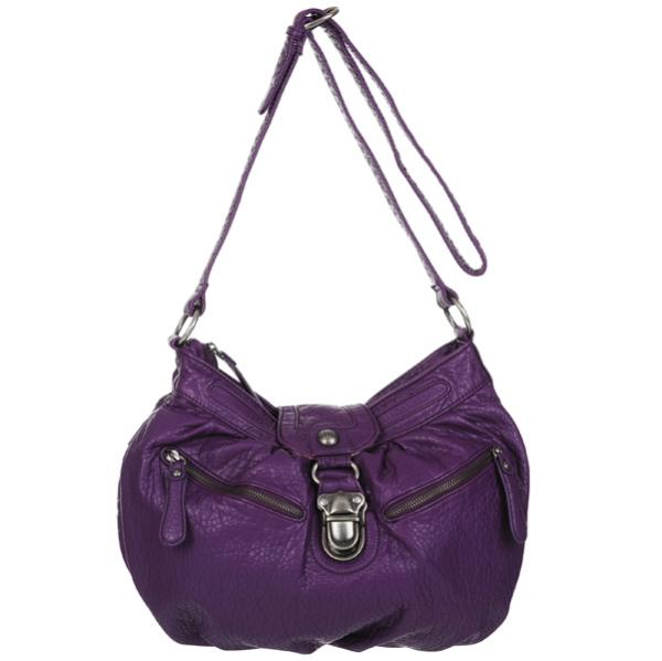 ... Accessories Nica Rosie Pushlock Front Large Cross Body Bag - Purple