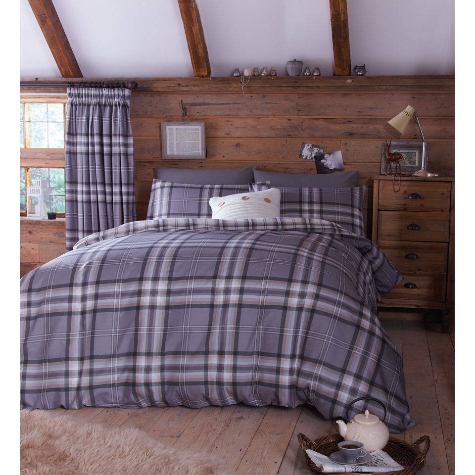 Catherine Lansfield Kelso Bedding Set Charcoal Homeware