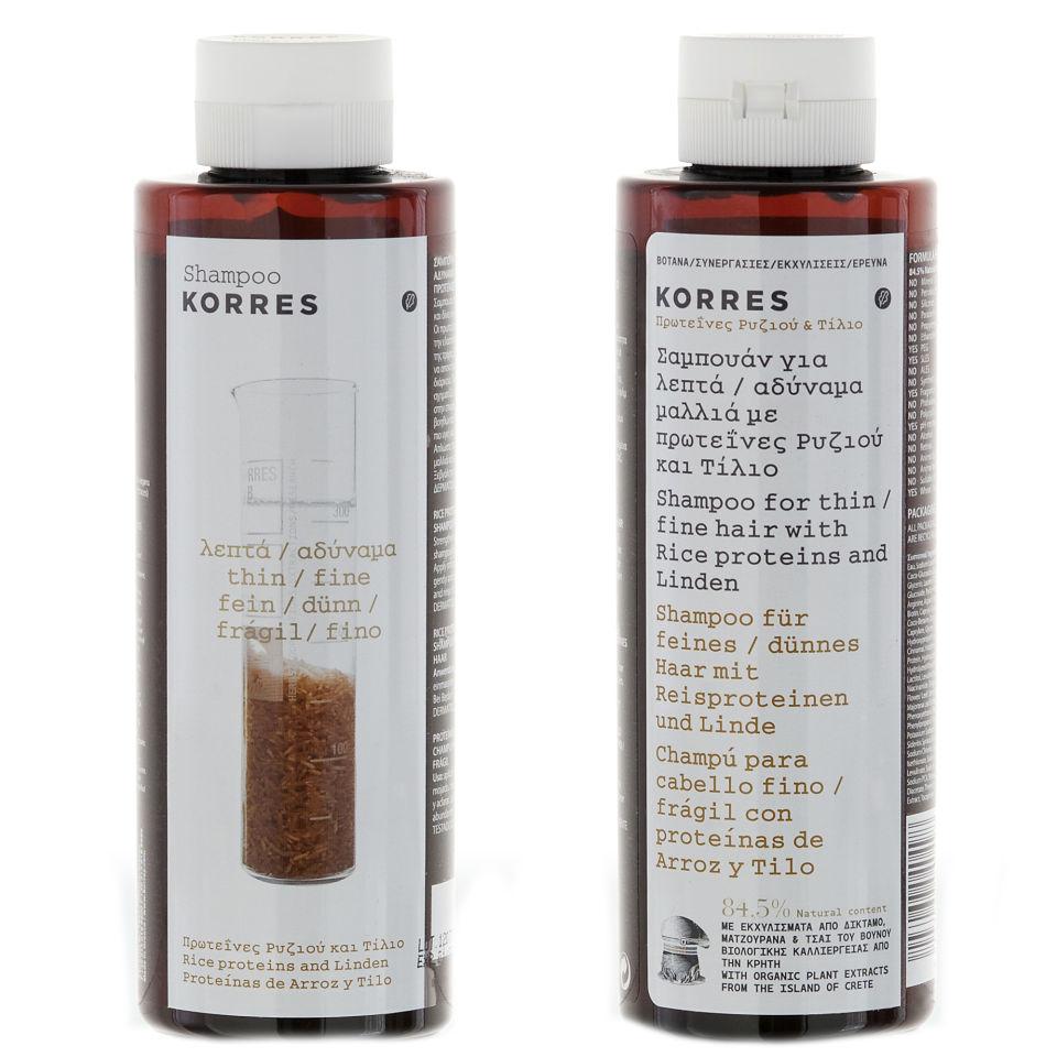korres shampoo reisproteine und linden f r d nnes und. Black Bedroom Furniture Sets. Home Design Ideas
